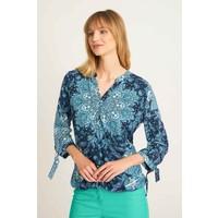 Quiosque Granatowa bluzka z wiązaniem przy rękawach 2IL001822