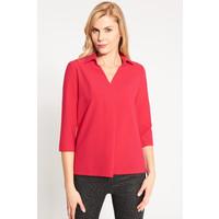 Quiosque Czerwona koszulowa bluzka z kontrafałdą 2II002501