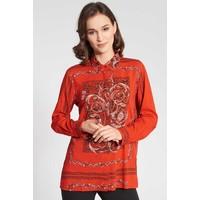 Quiosque Czerwona dłuższa koszula ze wzorem 2IW004523