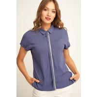 Quiosque Niebieska bluzka z kołnierzykiem 2HQ005802