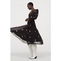 H&M Kopertowa sukienka 0886218003 Czarny/Kropki