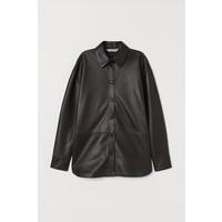 H&M Skórzana koszula 0779888003 Czarny