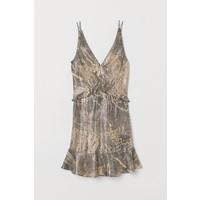 H&M Sukienka z domieszką jedwabiu 0737617001 Jasnobeżowy/Czarny wzór