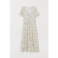 H&M Sukienka z dekoltem w serek 0730365001 Kremowy/Kwiaty