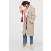 H&M Prosty płaszcz 0852513006 Jasnobeżowy