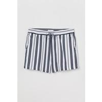 H&M Szorty z domieszką lnu 0599718006 Biały/Niebieskie paski