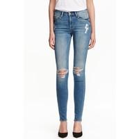 H&M Shaping Skinny Regular Jeans 0399136036 Niebieski denim/Znoszony
