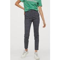 H&M Spodnie cygaretki 0751471003 Czarny/Niebieska krata