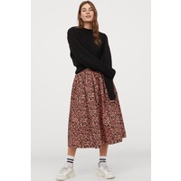 H&M Rozszerzana spódnica 0862414001 Czarny/Różowe kwiaty