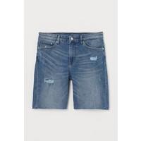 H&M Szorty dżinsowe 0663282007 Niebieski denim/Trashed