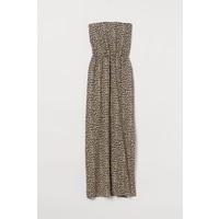 H&M Długa sukienka 0220094007 Beżowy/Panterka