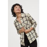 H&M Bawełniana koszula 0689365057 Beżowy/Krata