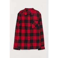 H&M Bawełniana koszula 0689365057 Czerwony/Krata
