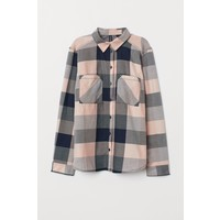 H&M Bawełniana koszula 0689365057 Ciemnoniebieski/Różowa krata