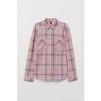 H&M Bawełniana koszula 0689365057 Różowy/Krata