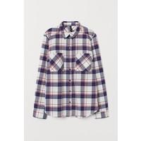 H&M Bawełniana koszula 0689365057 Niebieski/Czerwona krata