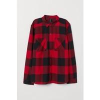 H&M Bawełniana koszula 0689365057 Czerwony/Czarna krata