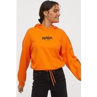 H&M Bluza z kapturem 0829200002 Pomarańczowy/NASA