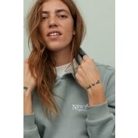 H&M Bluza z kapturem 0829200002 Bladozielony/New York