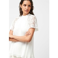 Next ECRU LACE SLEEVE PLEAT TOP Bluzka white NX321E09E