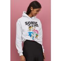 H&M Bluza z kapturem i z nadrukiem 0816682001 Biały/Sonic