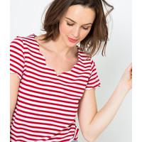 Camaieu T-shirt z falistym wykończeniem 526814_2800H20/2800/TUMARIN MC