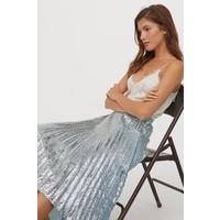 H&M Plisowana spódnica z cekinami 0876737001 Jasnoturkusowy