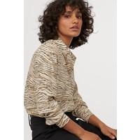 H&M Bluzka z długim rękawem 0695632047 Beżowy/Tygrysie paski