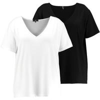 Missguided Plus CURVE V NECK 2 PACK T-shirt z nadrukiem white/black M0U21D020