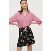 H&M Kloszowa spódnica 0729928016 Czarny/Różowe kwiaty