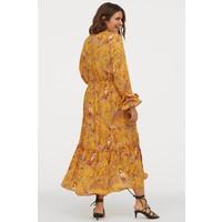 H&M H&M+ Długa sukienka z krepy 0855801001 Ciemnożółty/Storczyki
