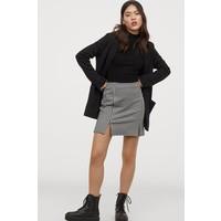 H&M Krótka spódnica dżersejowa 0852833002 Biały/Czarna krata