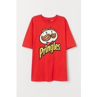 H&M T-shirt z nadrukiem 0766728004 Czerwony/Pringles