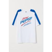 H&M T-shirt z nadrukiem 0766728004 Biały/Pepsi