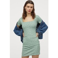 H&M Sukienka z dżerseju w prążki 0829045006 Miętowozielony/Kwiaty