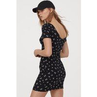 H&M Sukienka z dżerseju w prążki 0829045006 Czarny/Kwiaty