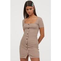 H&M Sukienka z dżerseju w prążki 0829045006 Beżowy