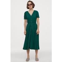 H&M Kreszowana sukienka z dżerseju 0873915003 Szmaragdowy