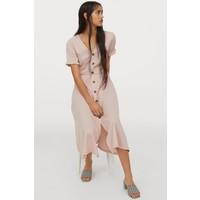 H&M Kreszowana sukienka z dżerseju 0873915003 Pudroworóżowy