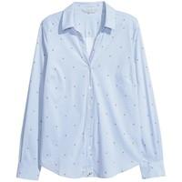 H&M Koszula w serek 0507909015 Jasnoniebieski/Paski