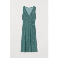 H&M Sukienka z wiązanym paskiem 0778534001 Ciemnozielony/Wzór