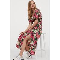 H&M Wzorzysta sukienka 0855200007 Wiśniowy/Kwiaty