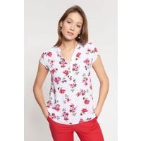 Quiosque Biała bluzka w kwiatki z zapinanym dekoltem 2JW003110