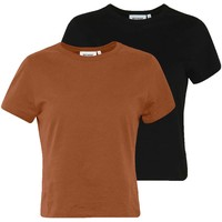 Weekday FOREVER 2 PACK T-shirt basic rust/black WEB21D057