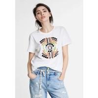 Desigual T-shirt z nadrukiem white DE121D0LE