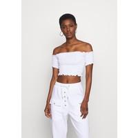 Missguided Tall SHIRRED BARDOT CROP TOP T-shirt basic white MIG21D034