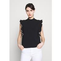KARL LAGERFELD COLORBLOCK RUFFLE CROP T-shirt z nadrukiem black K4821I00Y