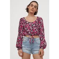 H&M Bluzka z wiązaniem u dołu 0855531007 Czarny/Różowe kwiaty