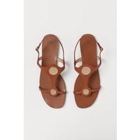 H&M Skórzane sandały 0808661002 Brązowy