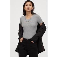 H&M Body z dżerseju w prążki 0828499002 Jasnoszary melanż